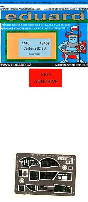 キャンベラ B.2用 内・外装 エッチングパーツ (接着剤付) (エアフィックス対応)エッチング(エデュアルド1/48 エアクラフト用 カラーエッチング (49-×)No.49-467)商品画像