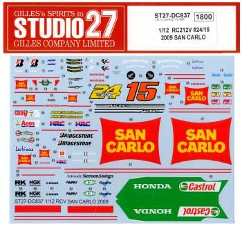 ホンダ RC212V LCR #24 Toni Elias & #15 Alex de Angelis 仕様 2009年 SAN CARLOデカール(スタジオ27バイク オリジナルデカールNo.DC837)商品画像