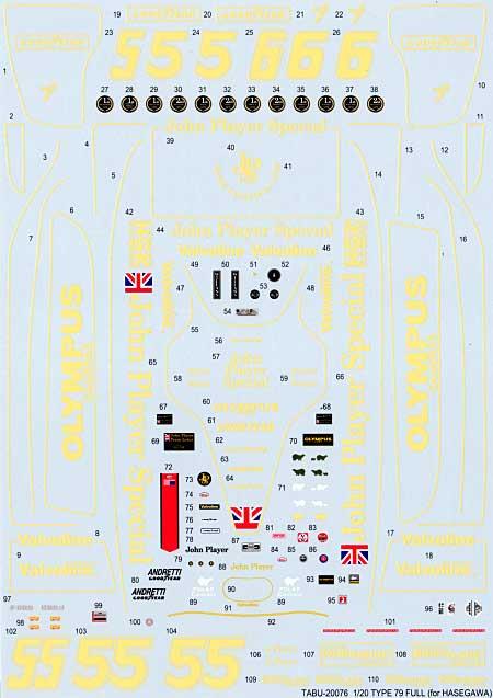 ロータス タイプ79 フルスポンサーデカール (ハセガワ対応)デカール(タブデザイン1/20 デカールNo.TABU-20076)商品画像