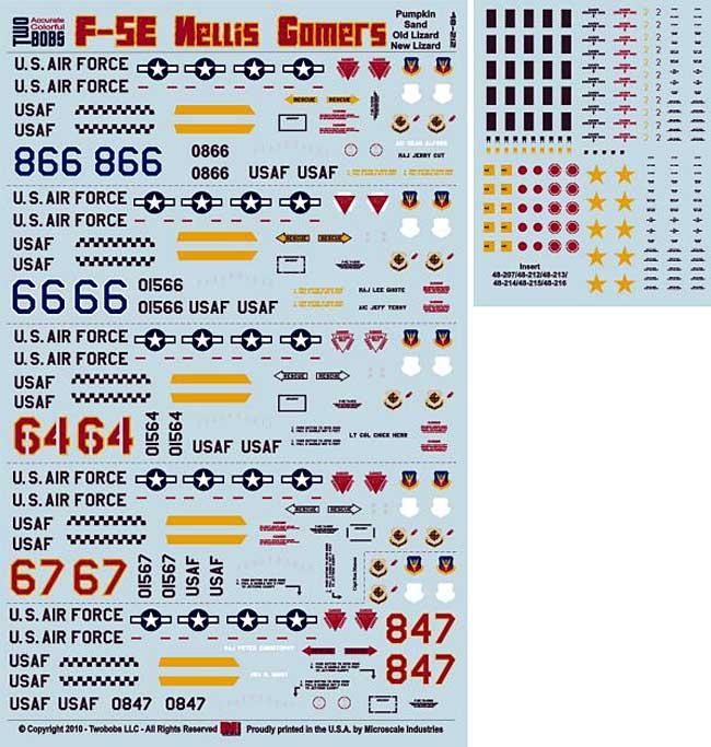 F-5E タイガー 2 ネリス ゴマーズ パート 2デカール(トゥーボブス1/48 エアクラフト用 デカールNo.48-212)商品画像_2
