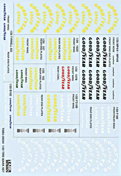 タイヤロゴ デカールデカール(タブデザイン1/20 デカールNo.TABU-20034B)商品画像