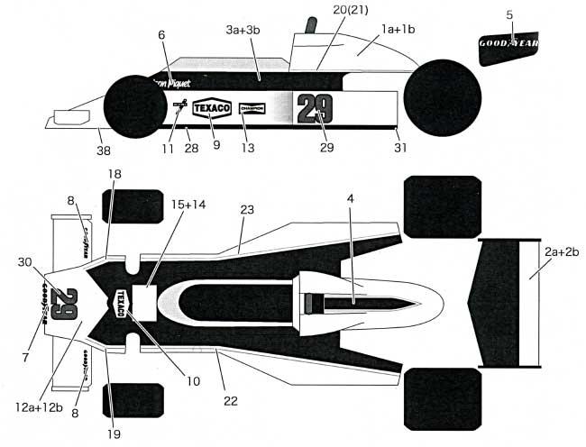 マクラーレン M23 1978 フルスポンサーデカール(タブデザイン1/20 デカールNo.TABU-20088)商品画像_1