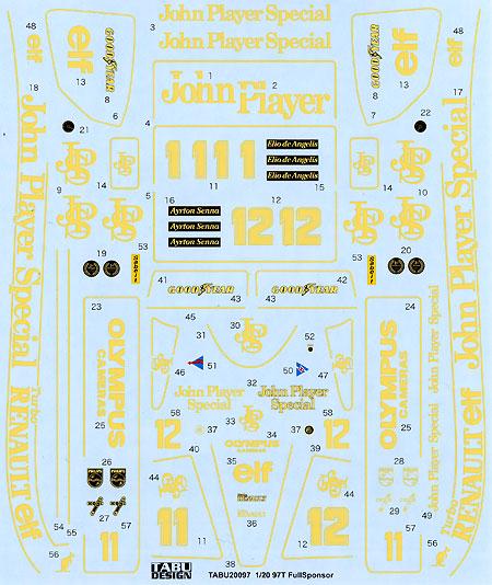 ロータス 97T フルスポンサー デカールデカール(タブデザイン1/20 デカールNo.TABU-20097)商品画像