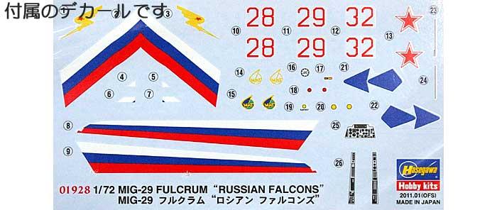 MiG-29 フルクラム ロシアン ファルコンズプラモデル(ハセガワ1/72 飛行機 限定生産No.01928)商品画像_1