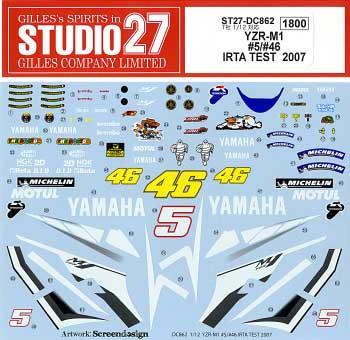 ヤマハ YZR-M1 #5/#46 SPECIAL IRTA TEST 2007デカール(スタジオ27バイク オリジナルデカールNo.DC862)商品画像