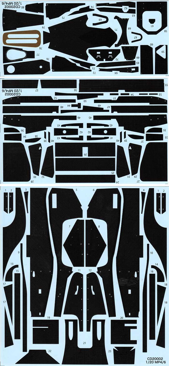 マクラーレン MP4/6 カーボンデカールデカール(スタジオ27F1 カーボンデカールNo.CD20002)商品画像_1