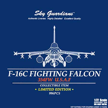 F-16C ファイティングファルコン U.S.A.F. 354FW アラスカ アイルソン基地完成品(ウイッティ・ウイングス1/72 スカイ ガーディアン シリーズ (現用機)No.75126)商品画像