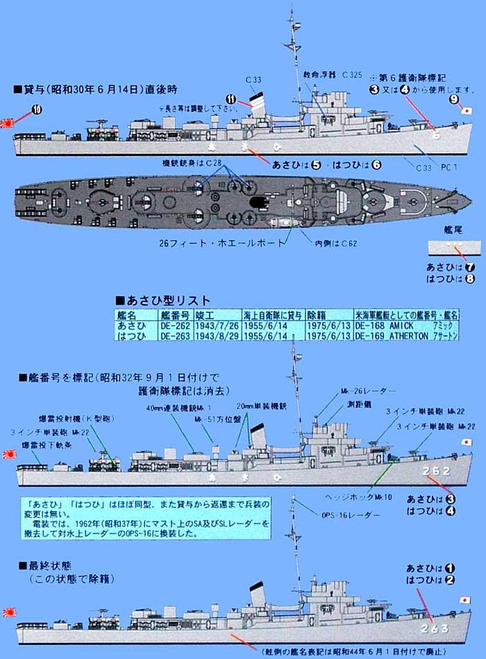 海上自衛隊護衛艦 DE-262 あさひ / DE-263 はつひ (2隻入り) (エッチングパーツ付属)プラモデル(ピットロード1/700 スカイウェーブ J シリーズNo.SPJ-002)商品画像_1