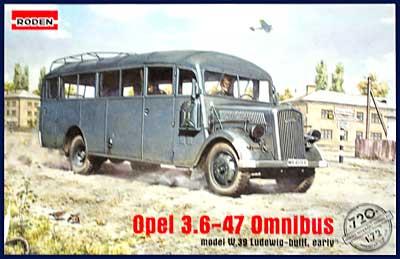 ドイツ オペル軍用 スタッフバス W39型 (オペル 3.6-47 オムニバス)プラモデル(ローデン1/72 AFV MODEL KITNo.720)商品画像