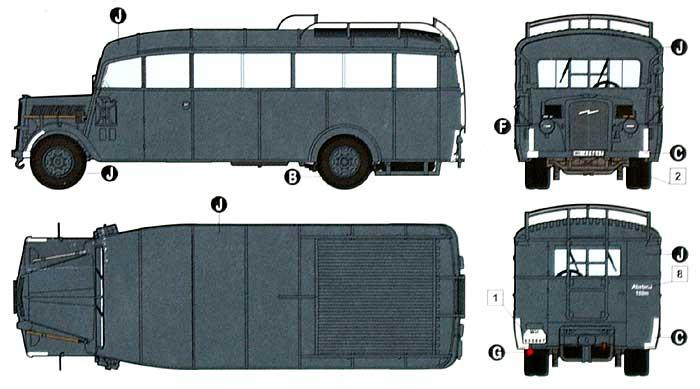 ドイツ オペル軍用 スタッフバス W39型 (オペル 3.6-47 オムニバス)プラモデル(ローデン1/72 AFV MODEL KITNo.720)商品画像_1