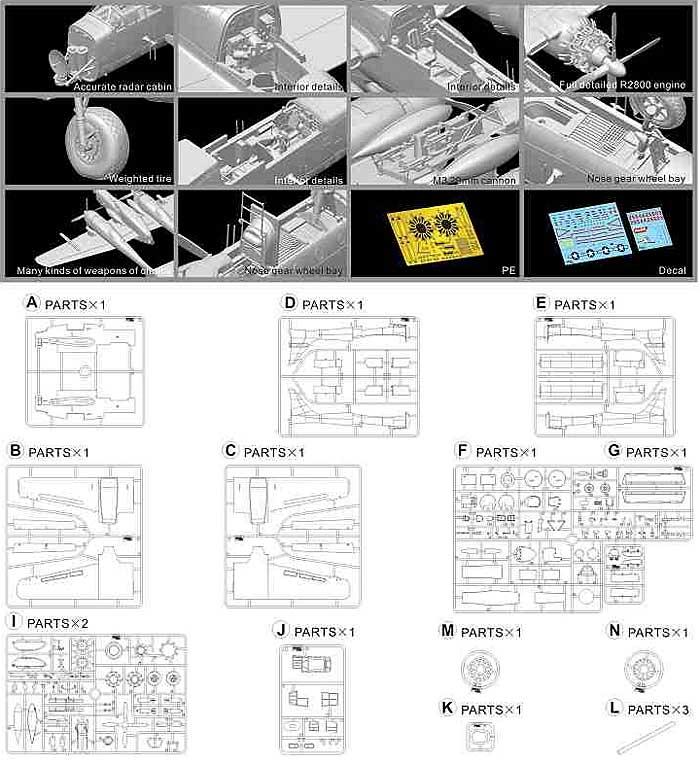 ノースロップ P-61A ブラックウィドウプラモデル(グレートウォールホビー1/48 ミリタリーエアクラフト プラモデルNo.L4802)商品画像_2