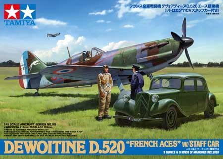 デヴォアティーヌ D.520 エース搭乗機 (スタッフカー付き)プラモデル(タミヤ1/48 傑作機シリーズNo.109)商品画像
