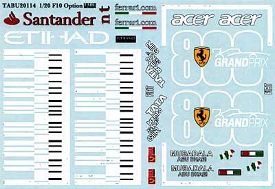 フェラーリ F10 オプションデカールデカール(タブデザイン1/20 デカールNo.TABU-20114)商品画像