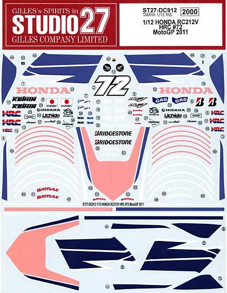 ホンダ RC212V HRC #72 MotpGP 2011デカール(スタジオ27バイク オリジナルデカールNo.DC912)商品画像