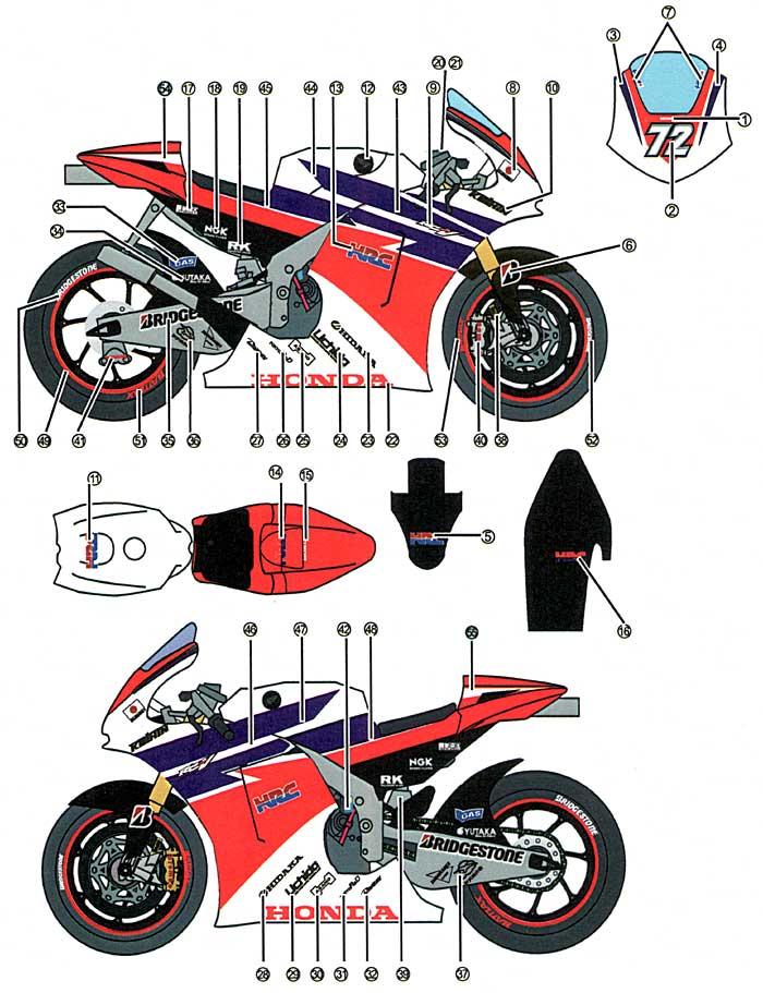 ホンダ RC212V HRC #72 MotpGP 2011デカール(スタジオ27バイク オリジナルデカールNo.DC912)商品画像_1