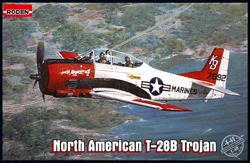 ノースアメリカン T-28B トロージャン (複座レシプロ練習機)プラモデル(ローデン1/48 エアクラフト プラモデルNo.441)商品画像