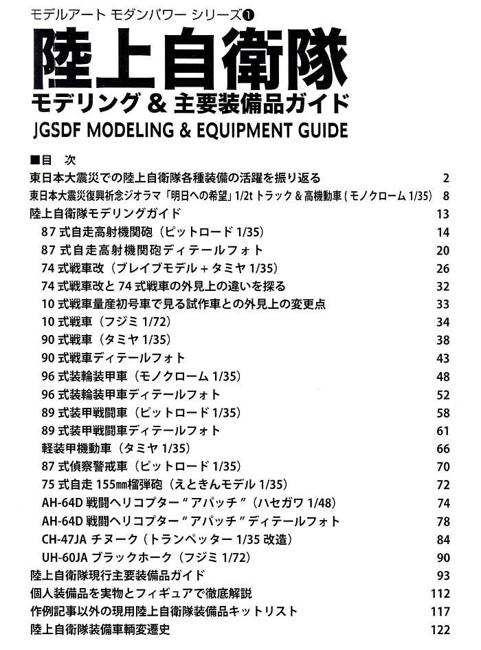 陸上自衛隊 モデリング & 主要装備ガイド本(モデルアートモダンパワー シリーズNo.001)商品画像_1