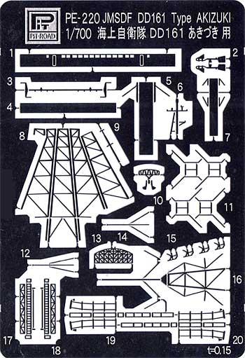 海上自衛隊 護衛艦 初代 あきづき型用 エッチングパーツエッチング(ピットロード1/700 エッチングパーツシリーズNo.PE-220)商品画像_1