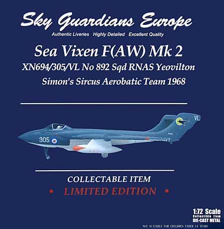 シービクセン F(AW) Mk.2 イギリス海軍 No892 Sqd XN694 #305 ヨービルトン Simon