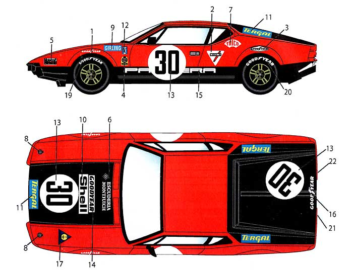 デ・トマソ パンテーラ #30 ル・マン 1972 デカールデカール(スタジオ27ツーリングカー/GTカー オリジナルデカールNo.DC923)商品画像_1