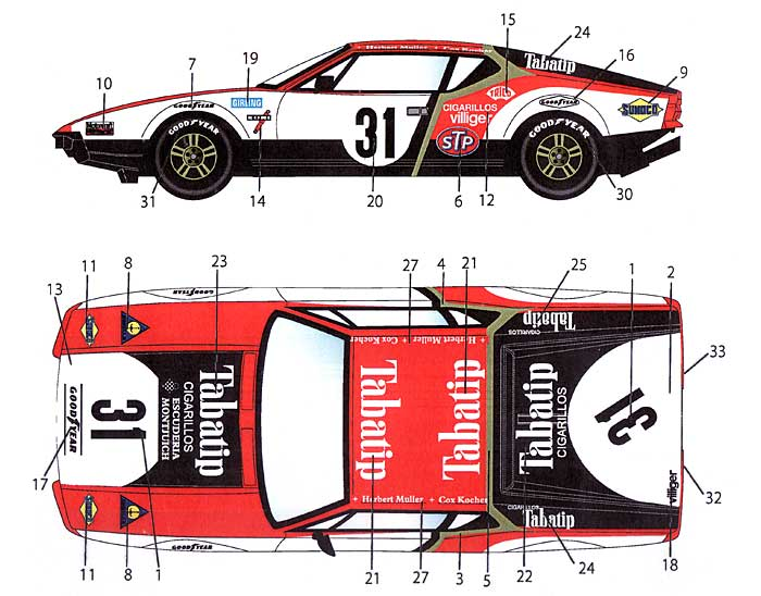 デ・トマソ パンテーラ #31 ル・マン 1972 デカールデカール(スタジオ27ツーリングカー/GTカー オリジナルデカールNo.DC924)商品画像_1