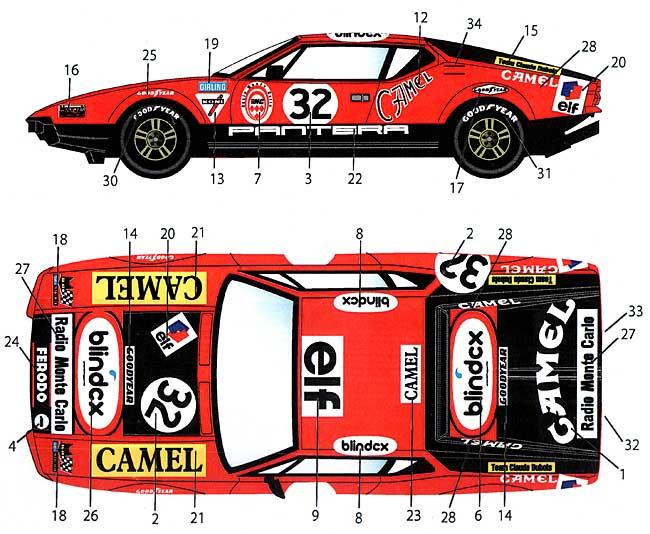 デ・トマソ パンテーラ #32 ル・マン 1972 デカールデカール(スタジオ27ツーリングカー/GTカー オリジナルデカールNo.DC925)商品画像_1