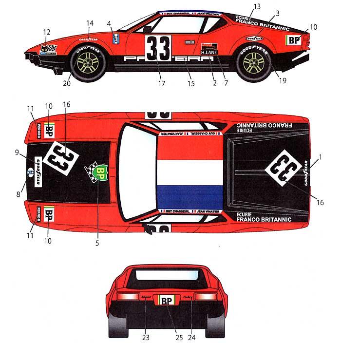 デ・トマソ パンテーラ #33 ル・マン 1972 デカールデカール(スタジオ27ツーリングカー/GTカー オリジナルデカールNo.DC926)商品画像_1