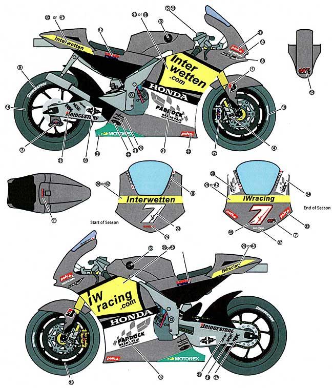 ホンダ RC212V INTERWETTEN #7 MotoGP 2010デカール(スタジオ27バイク オリジナルデカールNo.DC922)商品画像_1