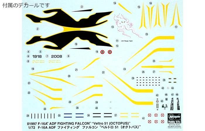 F-16A ADF ファイティング ファルコン ベルトロ 51 (オクトパス)プラモデル(ハセガワ1/72 飛行機 限定生産No.01997)商品画像_1