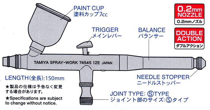 スプレーワーク HG エアーブラシ 3 (スーパーファイン)エアブラシ(タミヤタミヤエアーブラシシステムNo.74545)商品画像_2