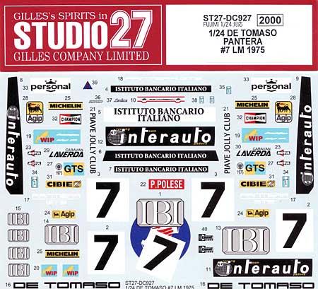 デ・トマソ パンテーラ #7 ル・マン 1975 デカールデカール(スタジオ27ツーリングカー/GTカー オリジナルデカールNo.DC927)商品画像