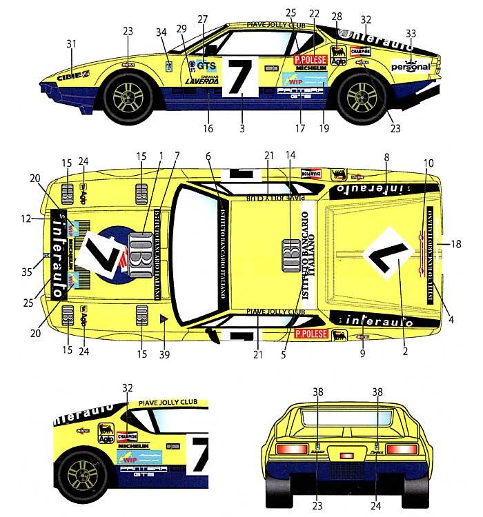 デ・トマソ パンテーラ #7 ル・マン 1975 デカールデカール(スタジオ27ツーリングカー/GTカー オリジナルデカールNo.DC927)商品画像_1