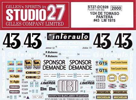 デ・トマソ パンテーラ #43 ル・マン 1975 デカールデカール(スタジオ27ツーリングカー/GTカー オリジナルデカールNo.DC928)商品画像