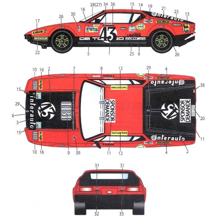 デ・トマソ パンテーラ #43 ル・マン 1975 デカールデカール(スタジオ27ツーリングカー/GTカー オリジナルデカールNo.DC928)商品画像_1