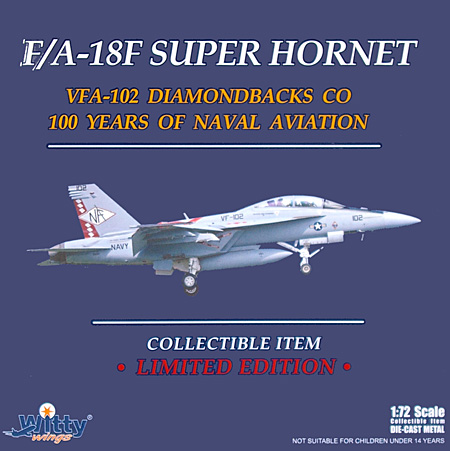 F/A-18F スーパーホーネット VFA-102 ダイヤモンドバックス 海軍航空100周年記念塗装完成品(ウイッティ・ウイングス1/72 スカイ ガーディアン シリーズ (現用機)No.75217)商品画像