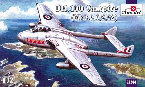 デ・ハビランド DH.100 バンパイア (Mk3、5、6、9、52)プラモデル(Aモデル1/72 ミリタリー プラスチックモデルキットNo.72264)商品画像