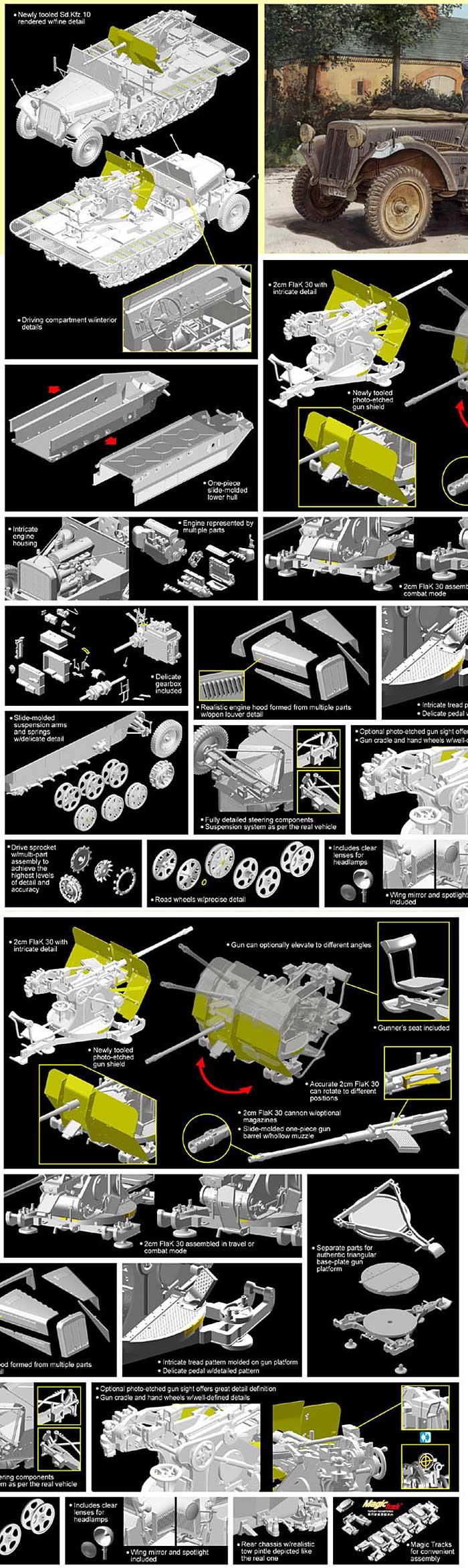 ドイツ Sd.Kfz.10/4 1tハーフトラック 2cm対空機関砲 FlaK30搭載型プラモデル(サイバーホビー1/35 AFV シリーズ ('39~'45 シリーズ)No.6739)商品画像_3