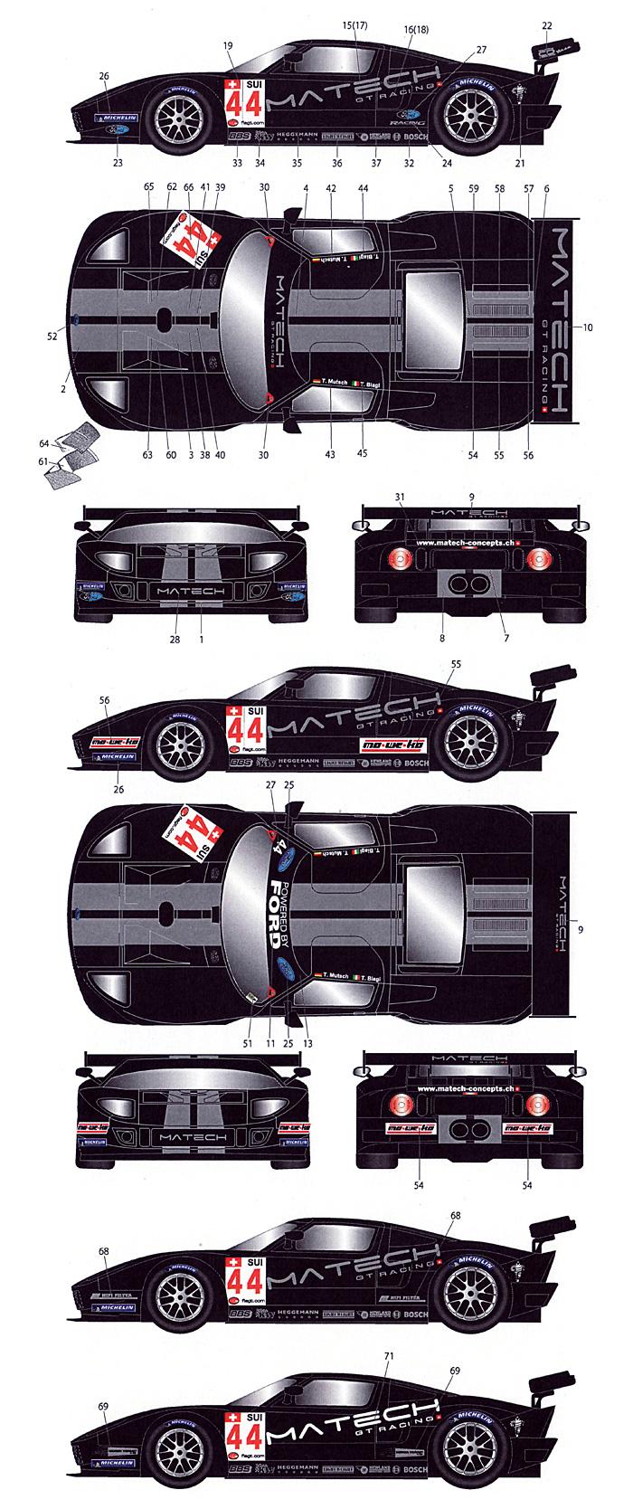 フォード GT #44 FIA GT1 2009デカール(スタジオ27ツーリングカー/GTカー オリジナルデカールNo.DC931)商品画像_2