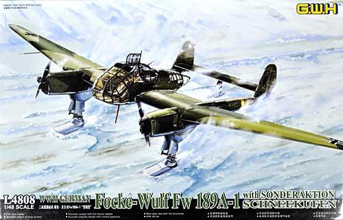 WW2 ドイツ フォッケウルフ Fw189A-1 冬季用スキー装備プラモデル(グレートウォールホビー1/48 ミリタリーエアクラフト プラモデルNo.L4808)商品画像