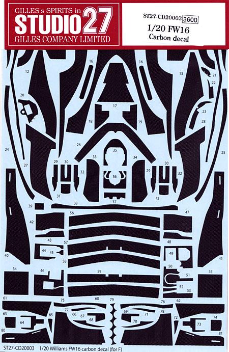 ウイリアムズ FW16用 カーボンデカールデカール(スタジオ27F1 カーボンデカールNo.CD20003)商品画像