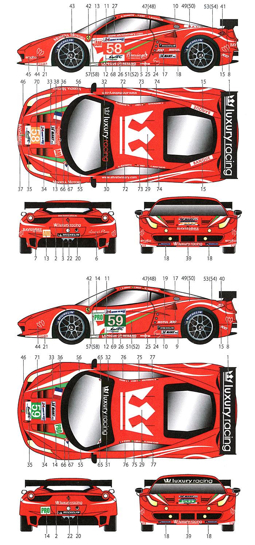 フェラーリ 458 #58/59 ラグジュアリー ル・マン 2012デカール(スタジオ27ツーリングカー/GTカー オリジナルデカールNo.DC948)商品画像_1