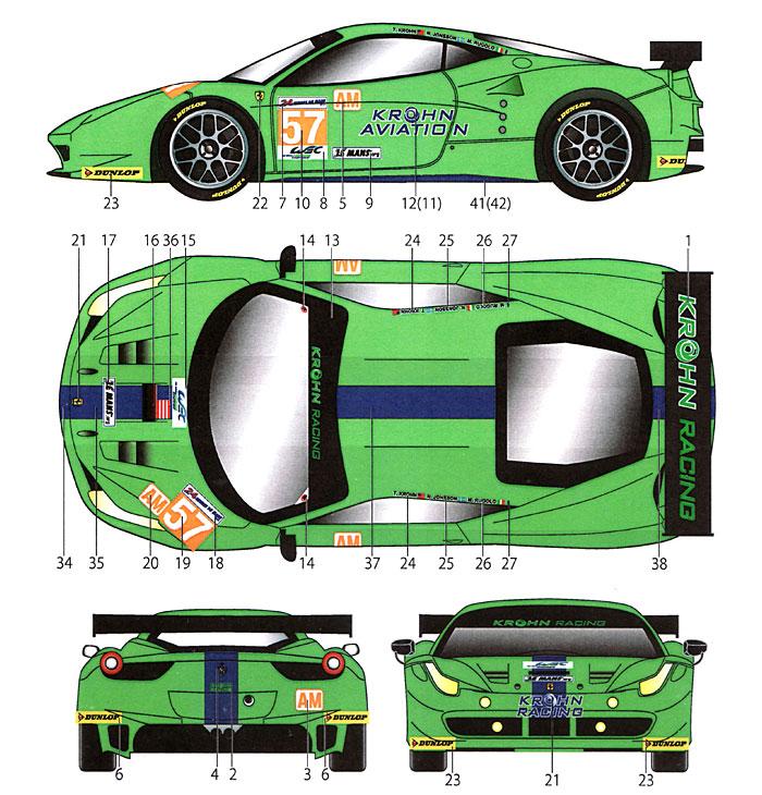 フェラーリ 458 #57 クローン ル・マン 2012デカール(スタジオ27ツーリングカー/GTカー オリジナルデカールNo.DC949)商品画像_1