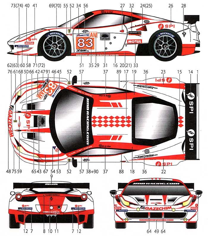 フェラーリ 458 JMBレーシング #83 ル・マン 2012デカール(スタジオ27ツーリングカー/GTカー オリジナルデカールNo.DC950)商品画像_1