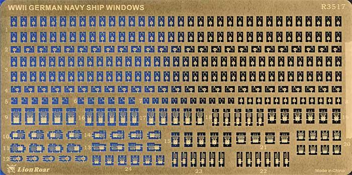 WW2 ドイツ海軍 艦船用船窓エッチング(ライオンロア1/350 艦船用エッチングパーツNo.R3517)商品画像_1