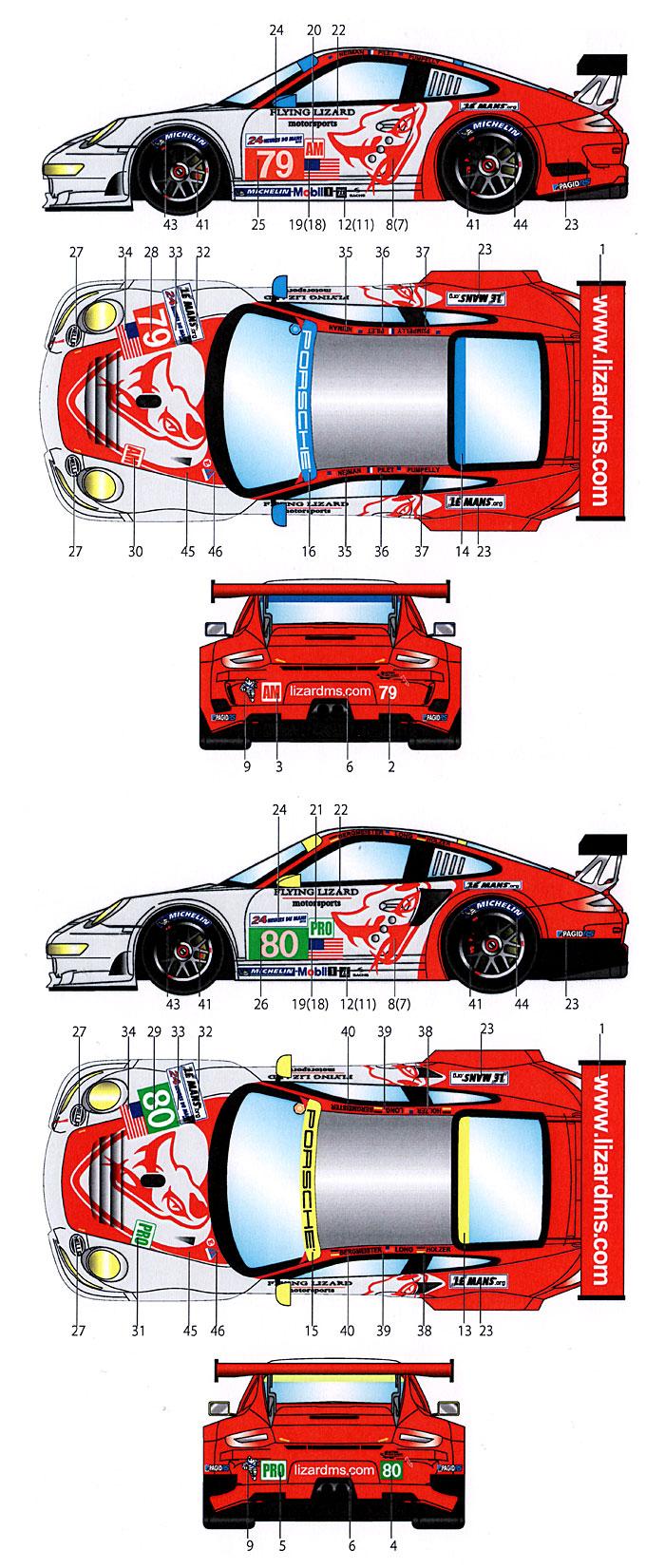 ポルシェ 911RSR #79/80 ル・マン 2012デカール(スタジオ27ツーリングカー/GTカー オリジナルデカールNo.DC953)商品画像_2