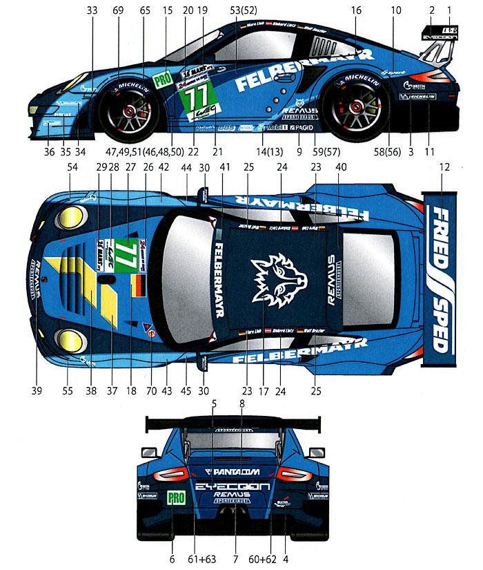 ポルシェ 911RSR #77 ル・マン 2012デカール(スタジオ27ツーリングカー/GTカー オリジナルデカールNo.DC954)商品画像_2