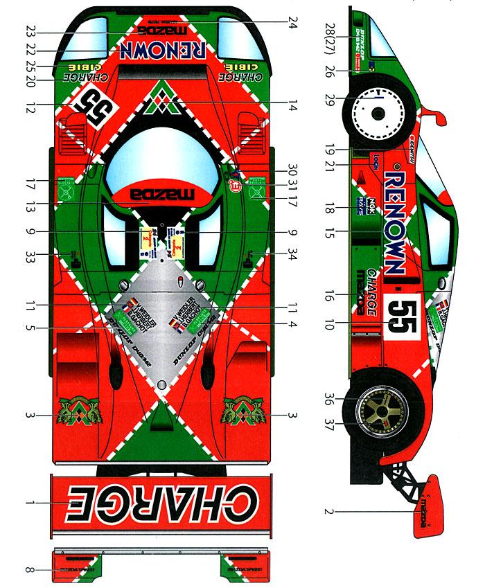 マツダ 787B CHARGE #55 ル・マン 1991 デカールデカール(スタジオ27ツーリングカー/GTカー オリジナルデカールNo.DC959D)商品画像_1