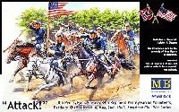マスターボックス1/35 ミリタリーミニチュア南北戦争 北軍騎兵隊 騎兵3体+馬3頭 1860年代