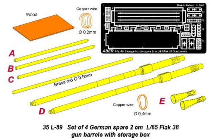 ドイツ 2cm Flak38 対空機関砲 砲身 & 予備銃身ケースメタル(アベール1/35 AFV用 砲身パーツNo.35L089)商品画像_1