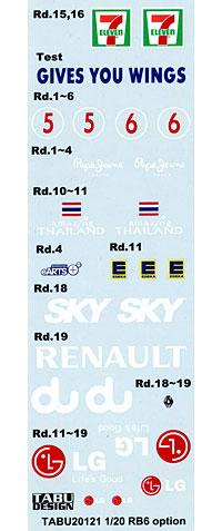 レッドブル レーシングルノー RB6 オプションデカールデカール(タブデザイン1/20 デカールNo.TABU-20121)商品画像